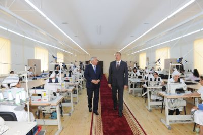 President Ilham Aliyev attended the opening of a garment factory in Horadiz