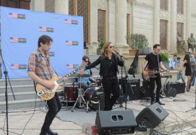 American Mary McBride band in Khachmaz