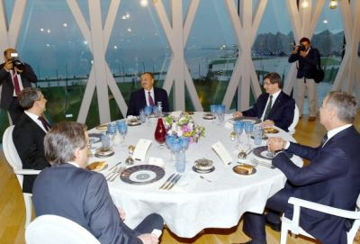 Dinner reception was hosted on behalf of President Ilham Aliyev in honor of the Turkish PM