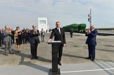 Azerbaijani President attended the opening of a ferry terminal