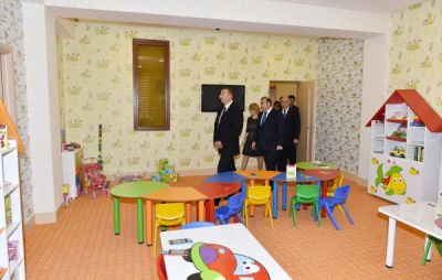 President Ilham Aliyev attended the opening of a kindergarten in Ismayilli