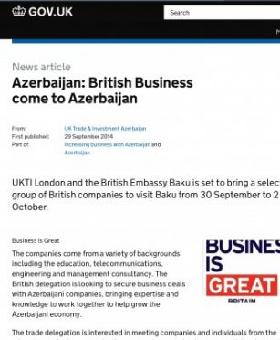 UK government`s website posts article on visit of British delegation to Baku