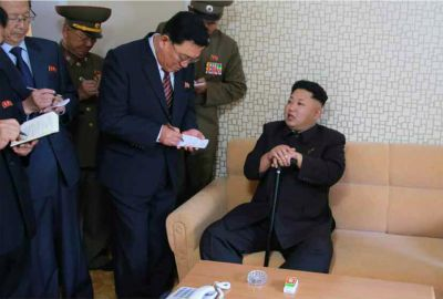North Korea leader reappears with walking stick