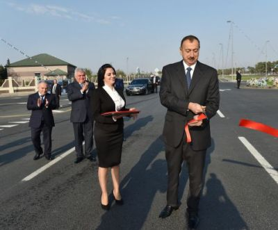 President Ilham Aliyev attended the opening of the first part of Gala-Pirallahi highway  PHOTO