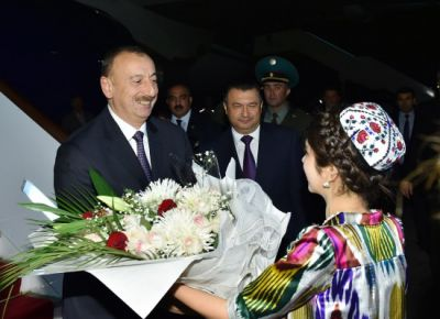 President Ilham Aliyev arrived in Tajikistan on an official visit PHOTO