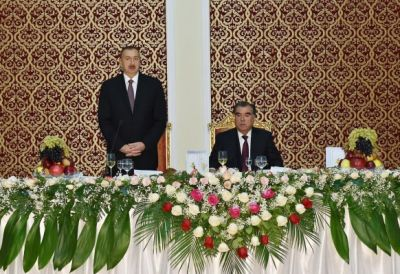 Official dinner reception was hosted on behalf of Tajik President of Azerbaijani President