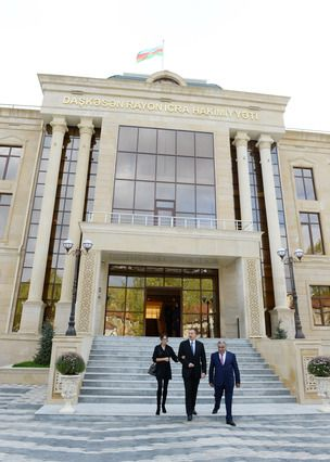 Ilham Aliyev reviewed the conditions created at a new office building of the Dashkasan District Executive Authority