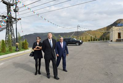 Azerbaijani President attended the opening of a new bus station in Dashkasan