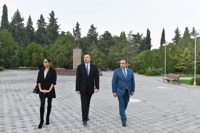 President Ilham Aliyev arrived in Naftalan District on a visit PHOTO