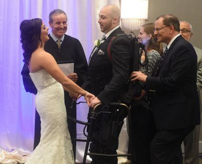 Paralysed man stands tall at his wedding