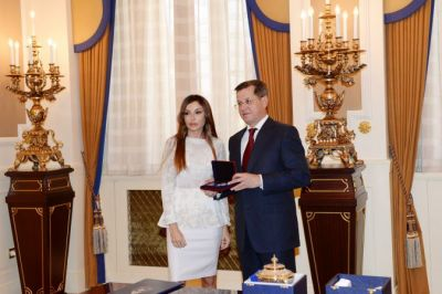 "Mehriban Aliyeva is presented the order ""For Services Before Astrakhan Region"""
