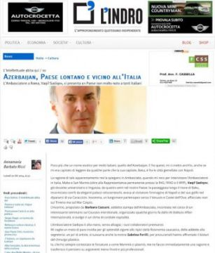 Italian L`indro news portal posts interview with Azerbaijani Ambassador