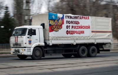 Russian truck convoy delivers relief supplies to Donetsk