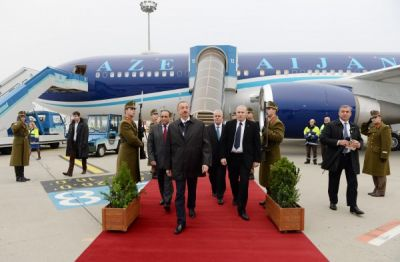 President Ilham Aliyev arrived in Hungary on a working visit
