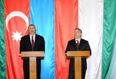 Azerbaijani President and Hungarian PM  made statements for the press