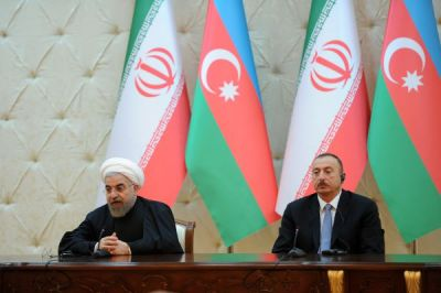 President Ilham Aliyev and President Hassan Rouhani made statements for the press
