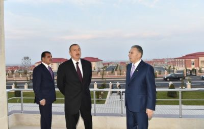 President Ilham Aliyev attended the opening of a new IDP settlement in Ganja PHOTO