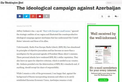 The Washington Post publishes comments of Azerbaijani MP on ideological campaign against Azerbaijan