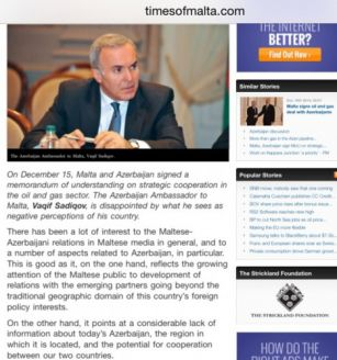 """Times of Malta"" publishes Azerbaijani Ambassador`s interview"
