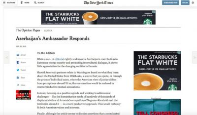 The New York Times published respond letter of Azerbaijani Ambassador