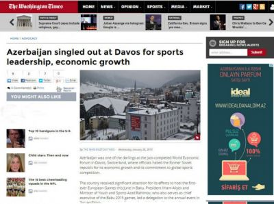 The Washington Times: Azerbaijan singled out at Davos for sports leadership, economic growth