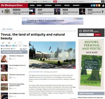 "The Washington Times publishes article titled ""Tovuz, the land of antiquity and natural beauty"""