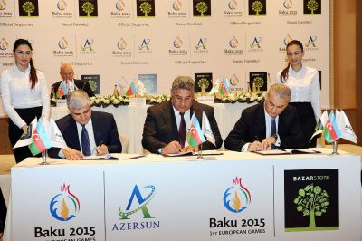 Baku 2015 European Games signs Azersun Holding and Bazarstore as Official Supporters