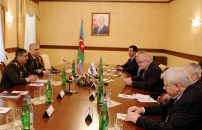 Defense Minister Zakir Hasanov meets OSCE Minsk Group co-chairs