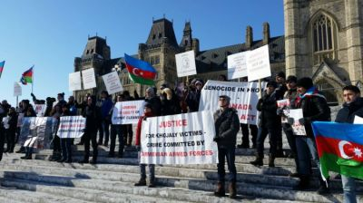 Azerbaijani diaspora stages Khojaly rally outside Canada`s parliament