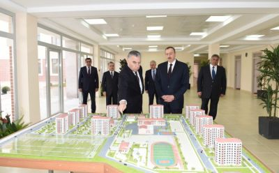 President Ilham Aliyev reviewed a newly-built residential complex for IDP families in Mingachevir