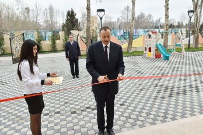 President Ilham Aliyev attends opening ceremony of kindergarten in Mingachevir  PHOTO