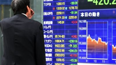 Asia shares lower