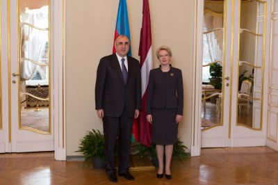 Azerbaijani Minister meets with Speaker of the Latvian Saeima