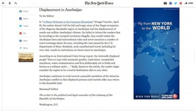 The New York Times publishes Azerbaijani Diplomat's letter