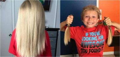 Boy, 9, grew his hair to give to cancer victim