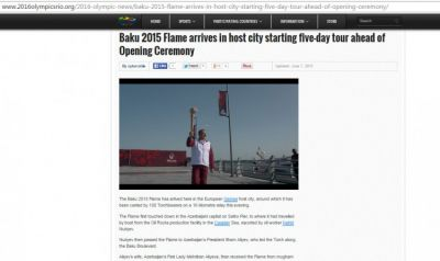 2016olympicsrio.org website posts article on Baku 2015