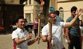 Baku 2015 Flame in Baku Old City