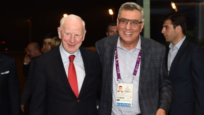 EOC President Patrick Hickey arrives in Baku