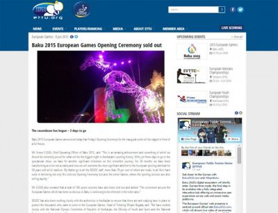 European Table Tennis Federation`s website publishes article about Baku 2015