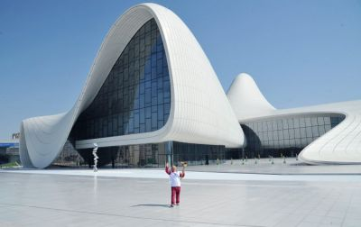 Baku 2015 Flame lights up Heydar Aliyev Center