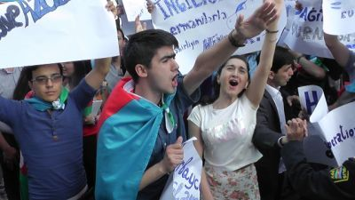 Azerbaijani young people hold a protest