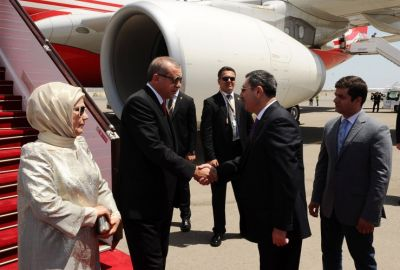 Turkish President  arrived in Baku to attend opening ceremony of first European Games