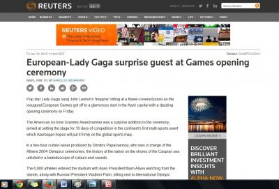 Reuters writes about the opening ceremony of Baku 2015