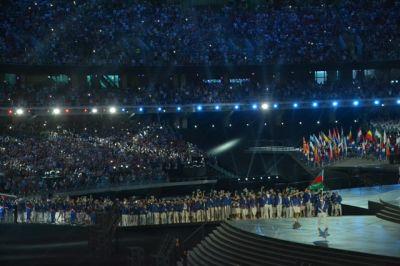 Azerbaijan Athletes enter the Olympic  Stadium