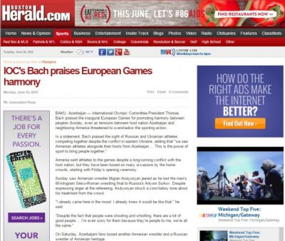 The Boston Herald wrotes about  Baku 2015