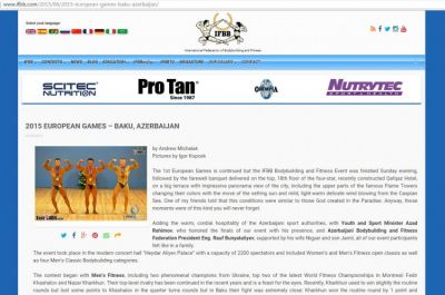 International Federation of Bodybuilding and Fitness praise organization of Baku 2015