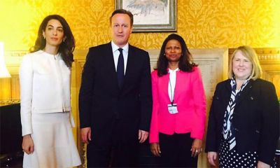 Amal Clooney attends meeting with David Cameron