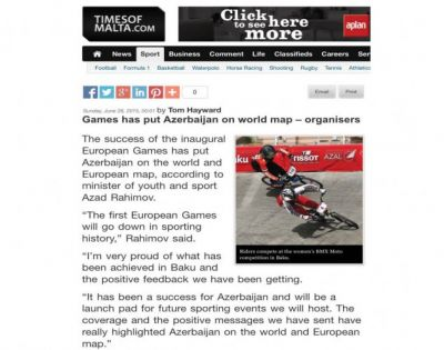 Times of Malta hails Azerbaijan's success on hosting the first European Games