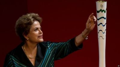 Brazil President Rousseff unveils Rio Olympics torch