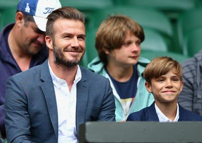 Beckham and son Romeo at Wimbledon PHOTO